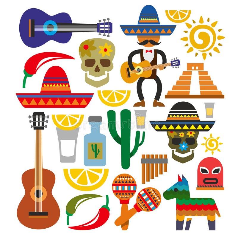 Значки Мексики вектора иллюстрация вектора