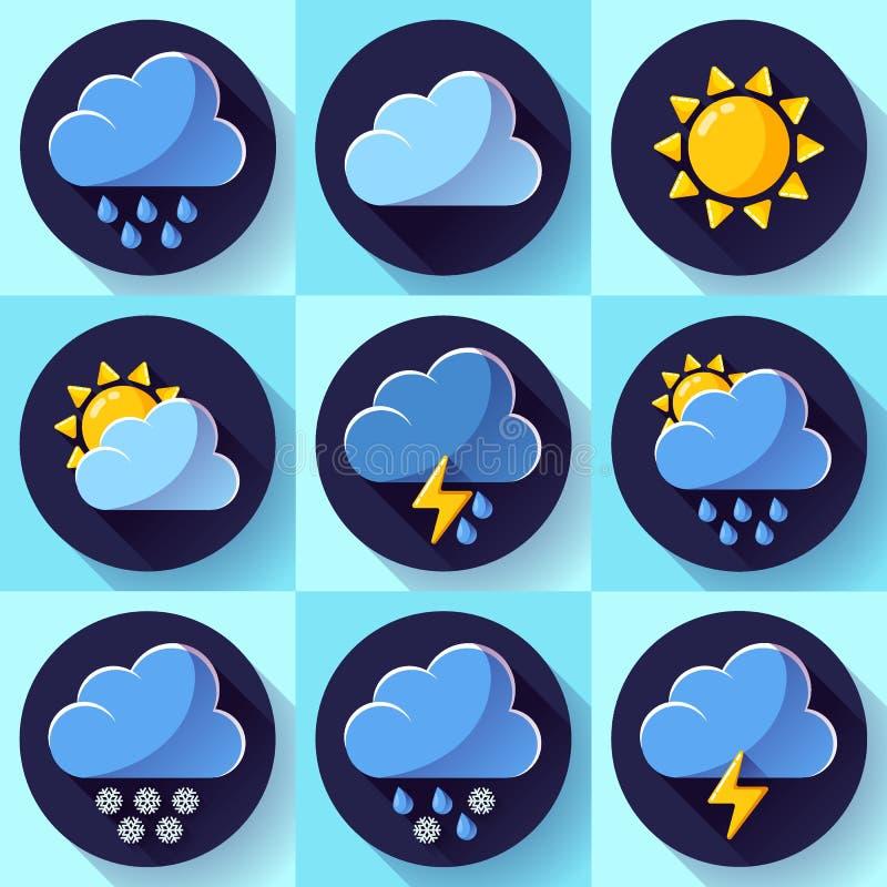 Значки метеорологии погоды цвета вектора плоские установили с длинной тенью иллюстрация вектора