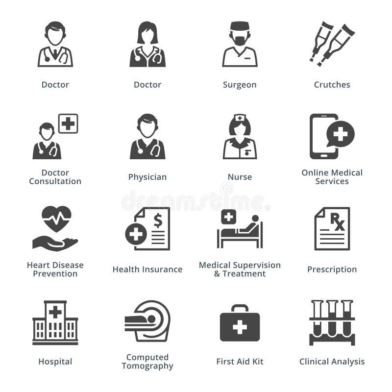 Значки медицинских обслуживаний установили 4 - черная серия бесплатная иллюстрация