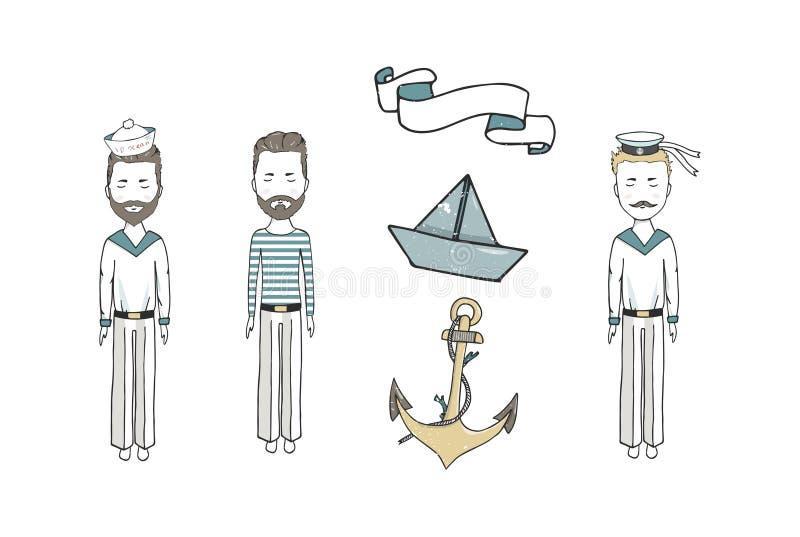 Значки милого старомодного парусного судна и современного вкладыша круиза плоские установили с иллюстрацией вектора компаса корми иллюстрация штока