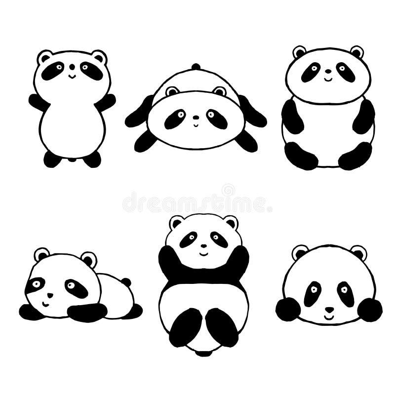 Значки милой панды шаржа установленные бесплатная иллюстрация