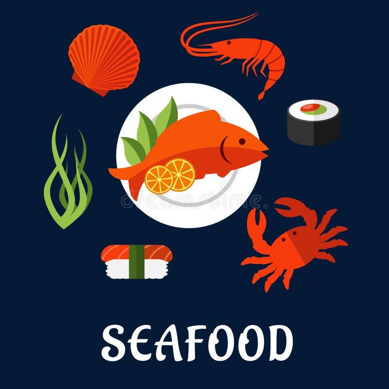 Значки морепродуктов с рыбами, сушами, крабом и креветкой иллюстрация штока