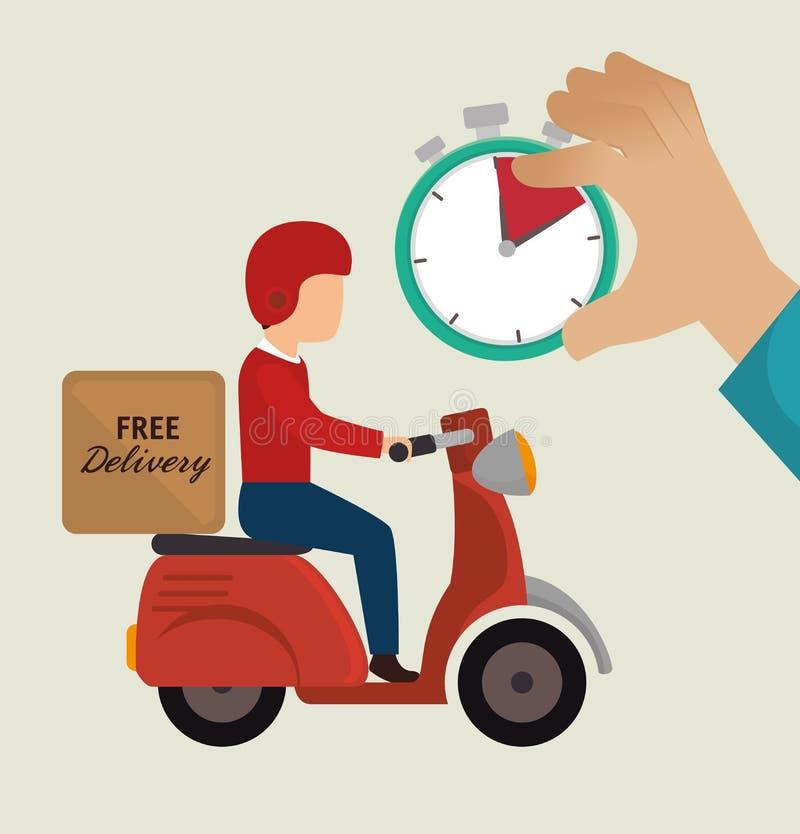 значки мотоцикла езды парня бесплатной доставки иллюстрация вектора