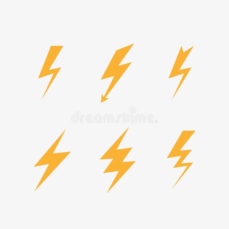 Значки молнии иллюстрация штока