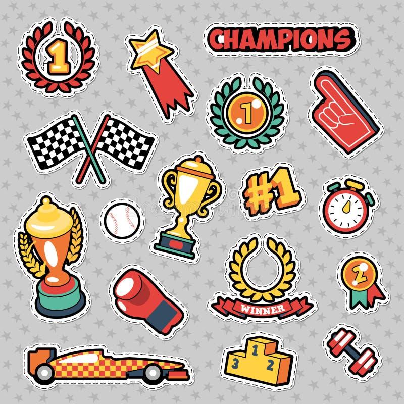 Значки моды, заплаты, стикеры в шуточном стиле Champions тема с чашками, медалями и спортивным инвентарем бесплатная иллюстрация