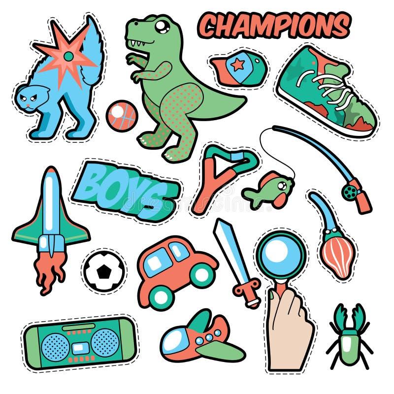 Значки моды, заплаты, тема мальчиков стикеров Игрушки, спорт, автомобиль и рекордер музыки иллюстрация штока
