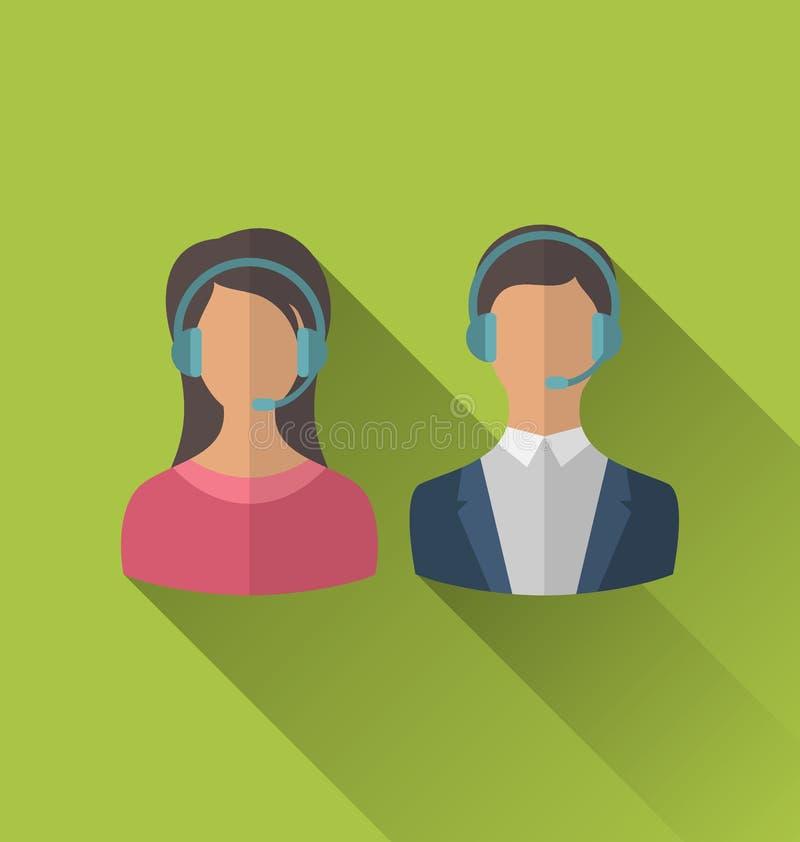 Значки мужских и женских воплощений для центра телефонного обслуживания операторов или su иллюстрация вектора