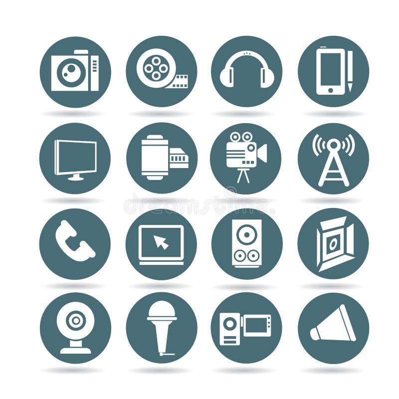 Значки музыки и средств массовой информации, круглые кнопки бесплатная иллюстрация