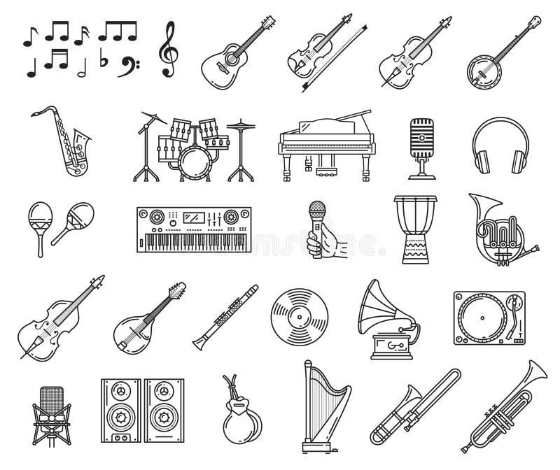 Значки музыки рояля, гитары, микрофона, замечают бесплатная иллюстрация