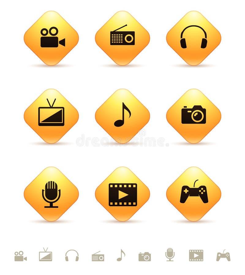 Значки мультимедиа на желтых кнопках косоугольника иллюстрация вектора
