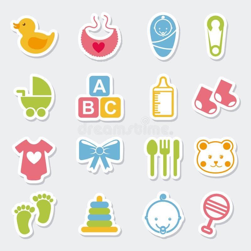 Значки младенца иллюстрация вектора