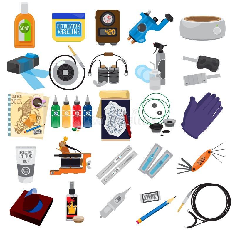Значки набора и оборудования татуировки бесплатная иллюстрация