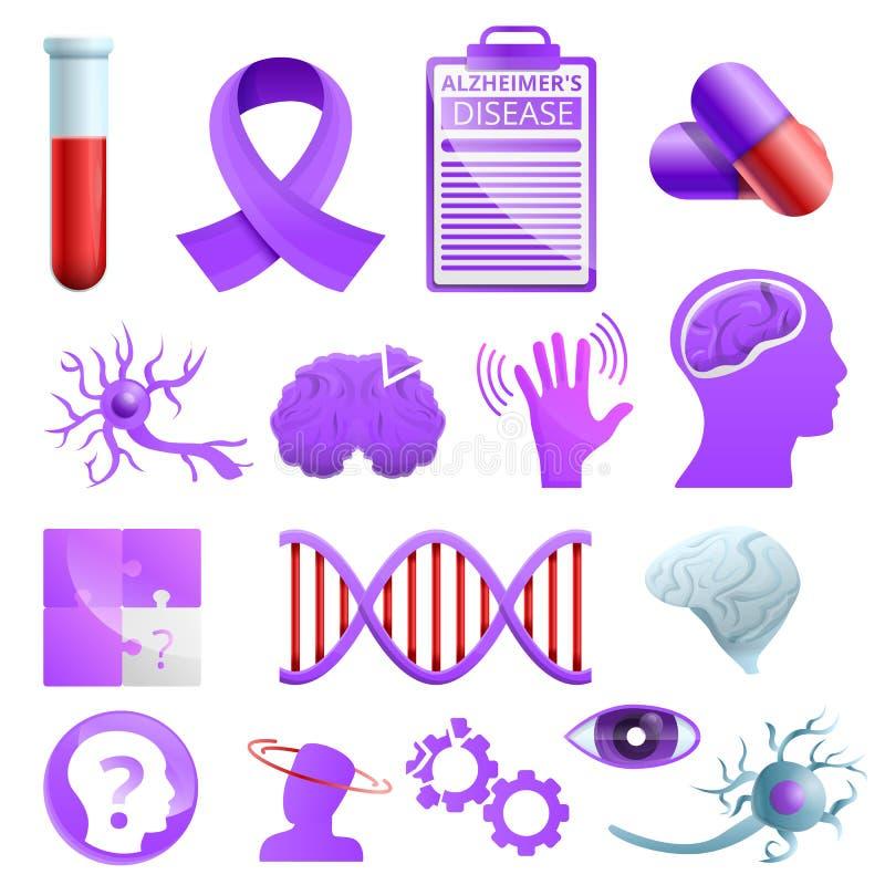Значки набор заболеванием Alzheimer, стиль мультфильма иллюстрация штока