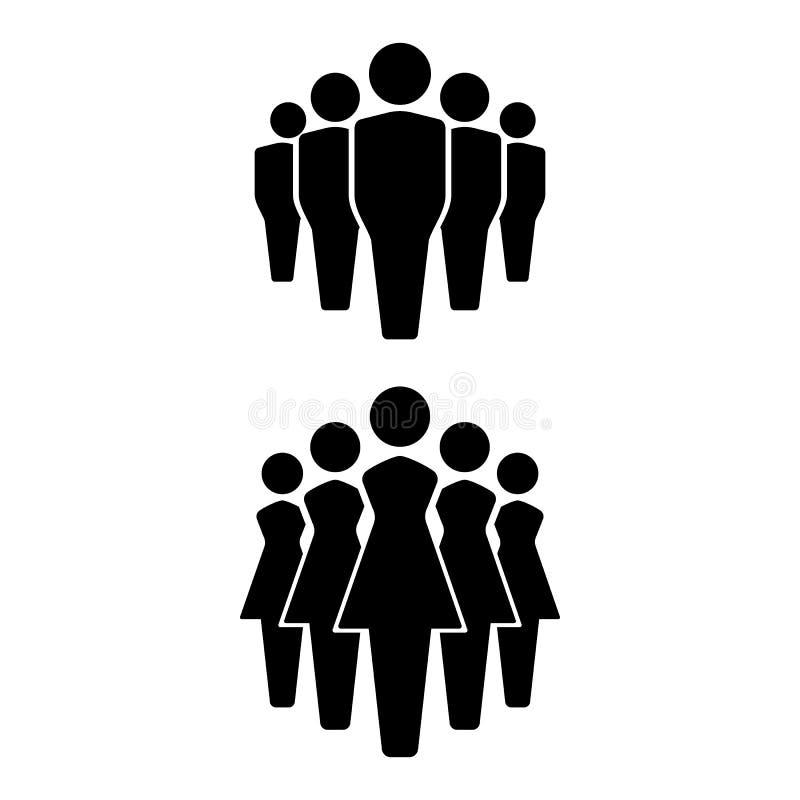Значки набор людей, значок команды, группа людей женщины неба людей голубой семьи предпосылки счастливые иллюстрация вектора