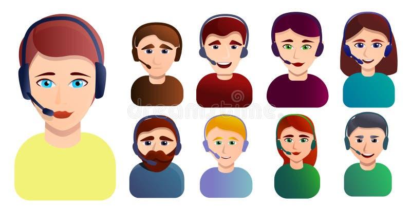 Значки набор работников центра телефонного обслуживания, стиль мультфильма бесплатная иллюстрация