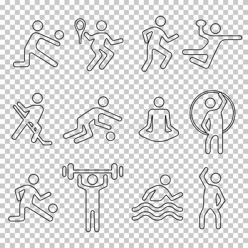 Значки набор спорта линейные, силуэт вектора, плоский логотип фитнеса, эмблема восковки, линия человек спортсмена формы Значки че иллюстрация штока