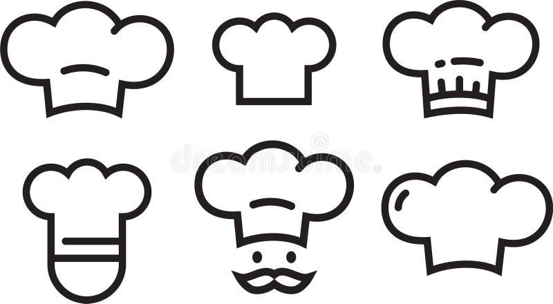 Значки набор шеф-повара, символы шляпы шеф-повара Значки плана lineart собрания логотипа вектора простые изолировали иллюстрация штока