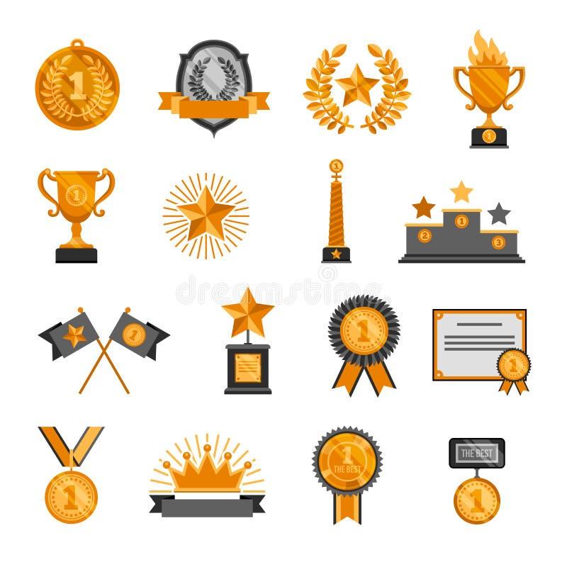 Значки наград успеха победителя чемпиона почетности звезды кроны значка медали трофея установили изумительную иллюстрацию вектора иллюстрация вектора