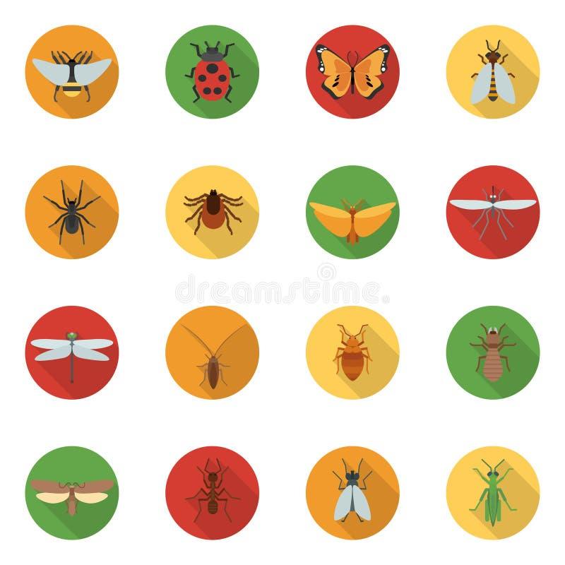 Значки насекомых плоские бесплатная иллюстрация