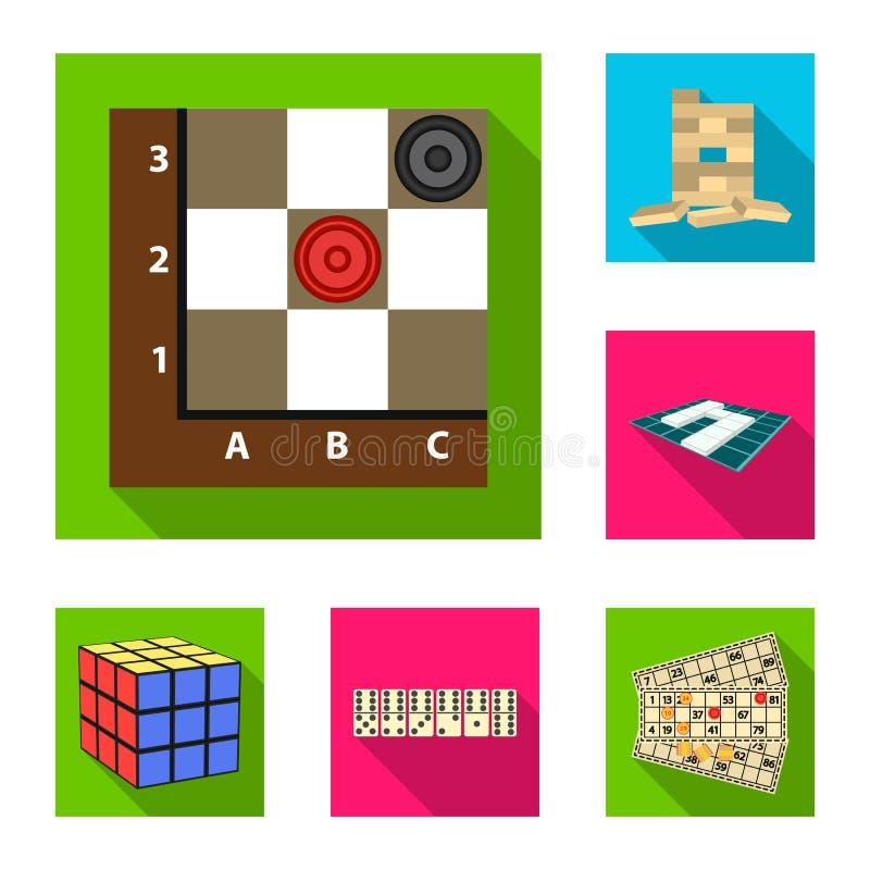 Значки настольной игры плоские в собрании комплекта для дизайна Игра и развлечения vector иллюстрация сети запаса символа иллюстрация штока