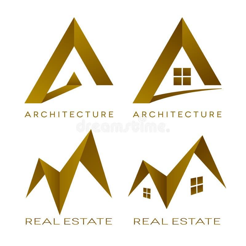 Значки недвижимости логотипов вектора архитектуры иллюстрация вектора