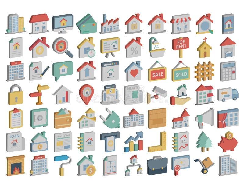 Значки недвижимости равновеликие пакуют которые могут легко доработать или отредактировать иллюстрация штока