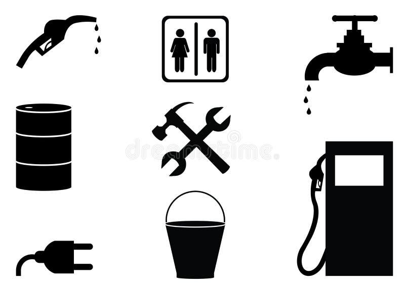 Значки нефтяной промышленности нефти и газ черно-белые иллюстрация штока