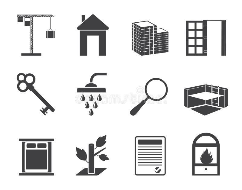 Значки недвижимости силуэта простые бесплатная иллюстрация