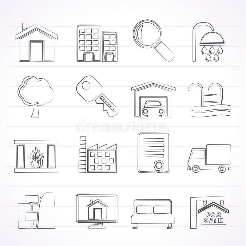 Значки недвижимости иллюстрация штока