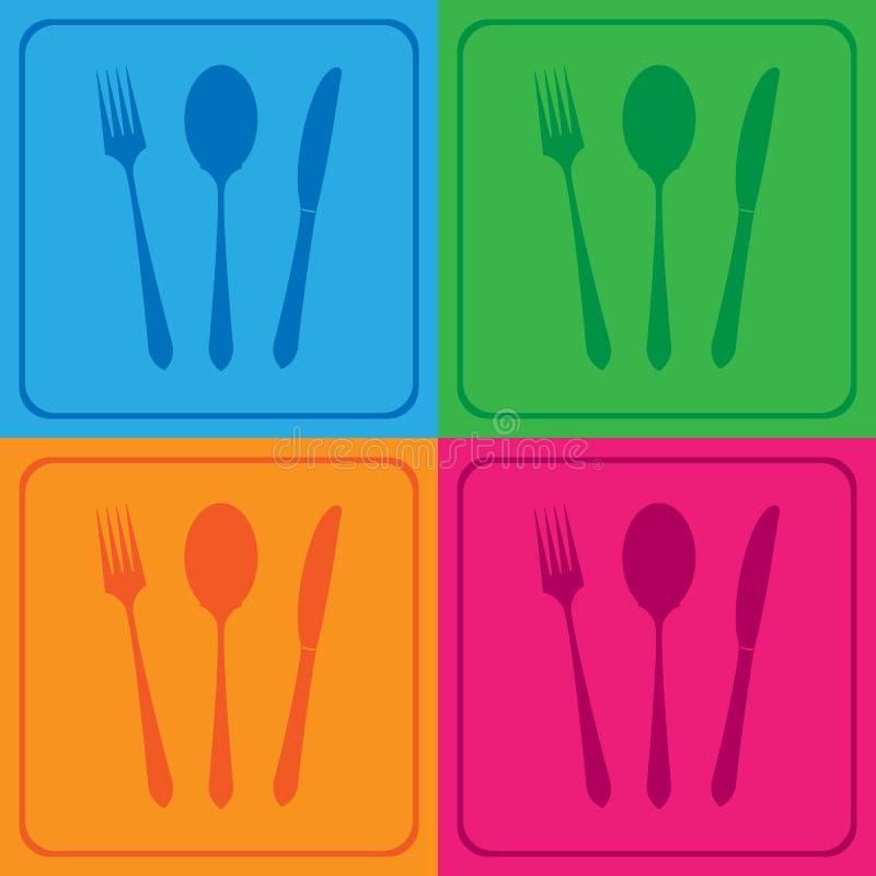 Значки ножа ножа вилки установили большой для любой пользы желтый цвет обоев вектора уравновешивания rac померанцовой картины цве иллюстрация штока