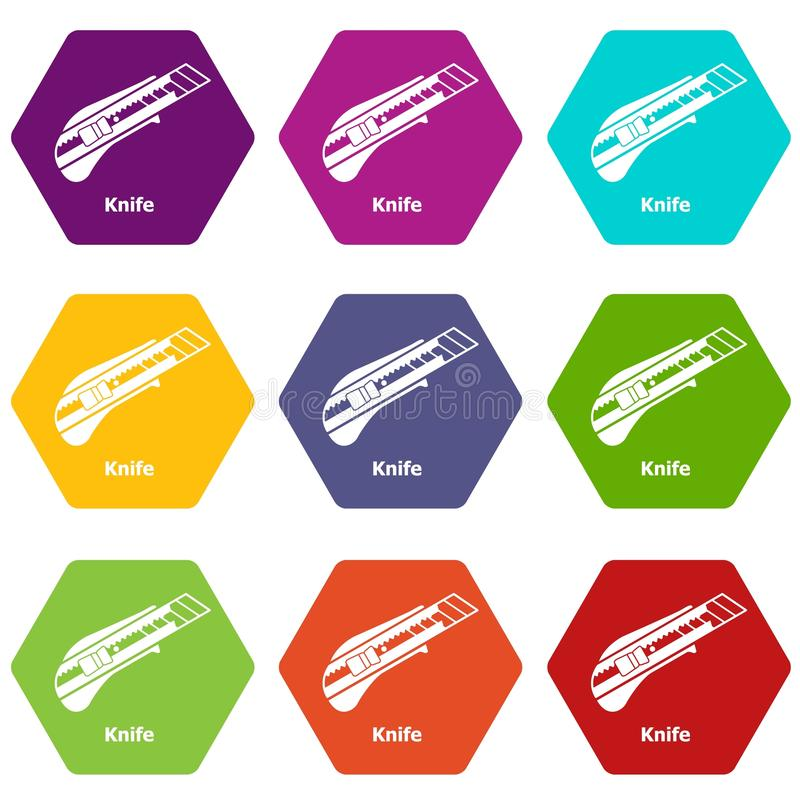 Значки ножа установили вектор 9 бесплатная иллюстрация