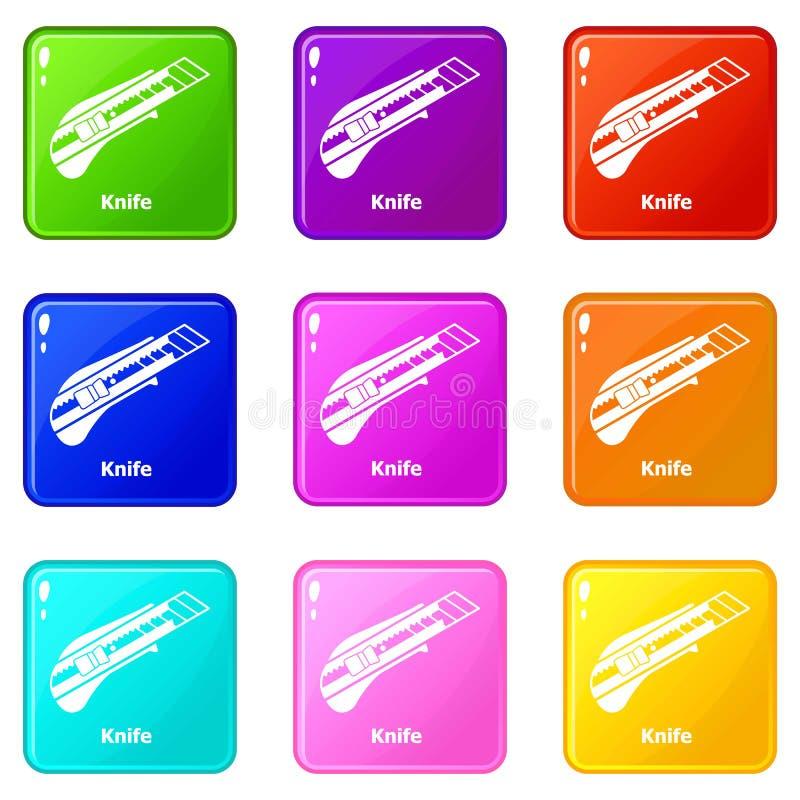 Значки ножа установили собрание 9 цветов бесплатная иллюстрация