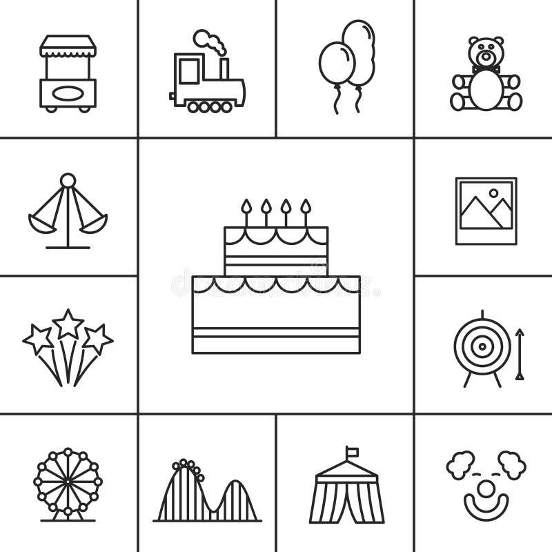 Значки дня рождения и торжества иллюстрация вектора