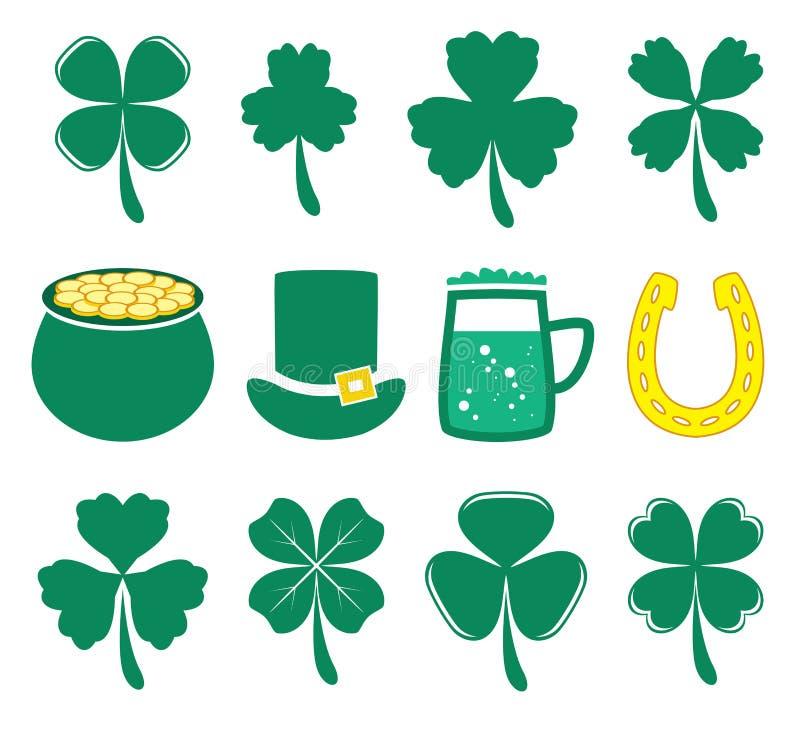 значки дня St. Patricks вектора иллюстрация штока