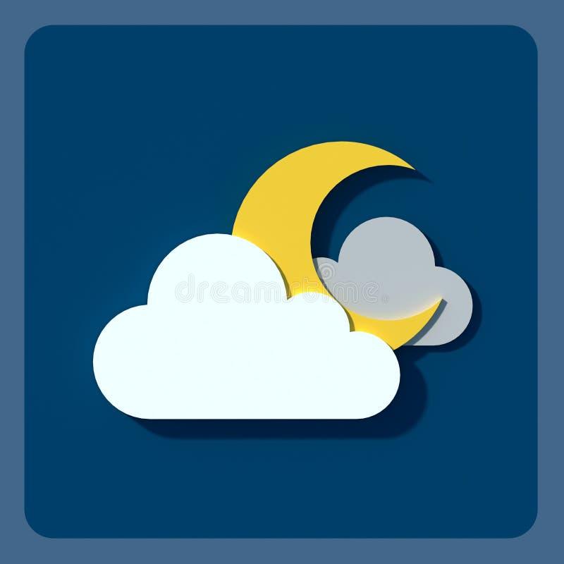 Значки, облака и солнце погоды иллюстрация вектора