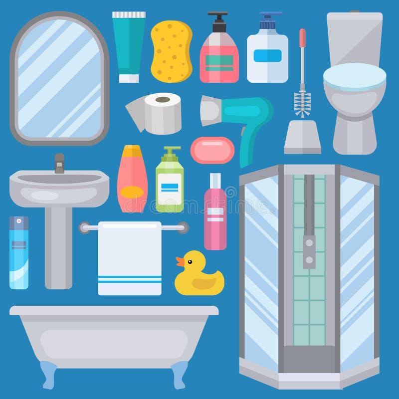 Значки оборудования ванны сделанные в иллюстрации искусства зажима современного стиля ливня плоского красочной для гигиены интерь иллюстрация вектора