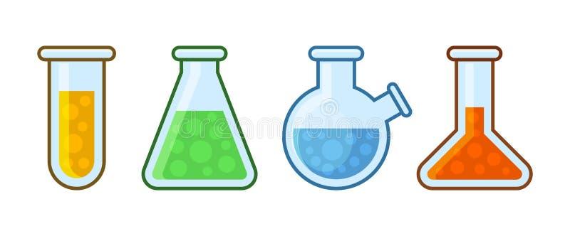 Значки оборудования химической лаборатории установленные на белую предпосылку вектор иллюстрация штока