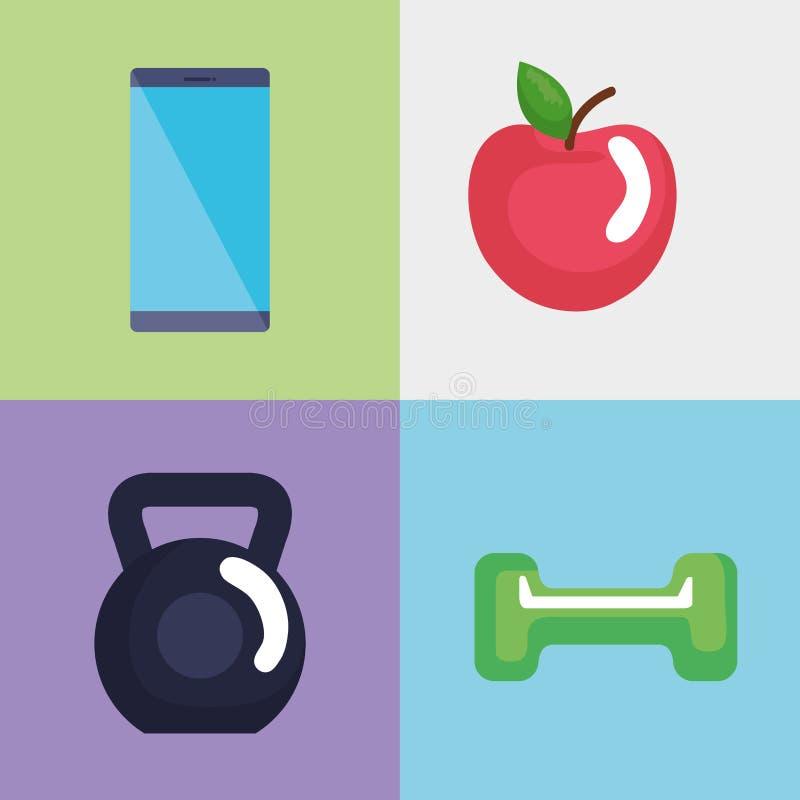 Значки образа жизни фитнеса установленные иллюстрация вектора