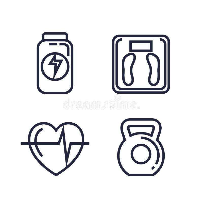 Значки образа жизни фитнеса установленные иллюстрация штока