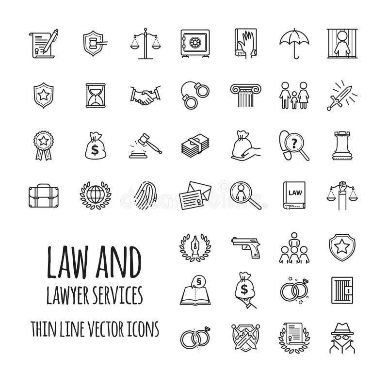 Значки обслуживаний закона и юриста установили для веб-дизайна, передвижного app, графического дизайна иллюстрация вектора