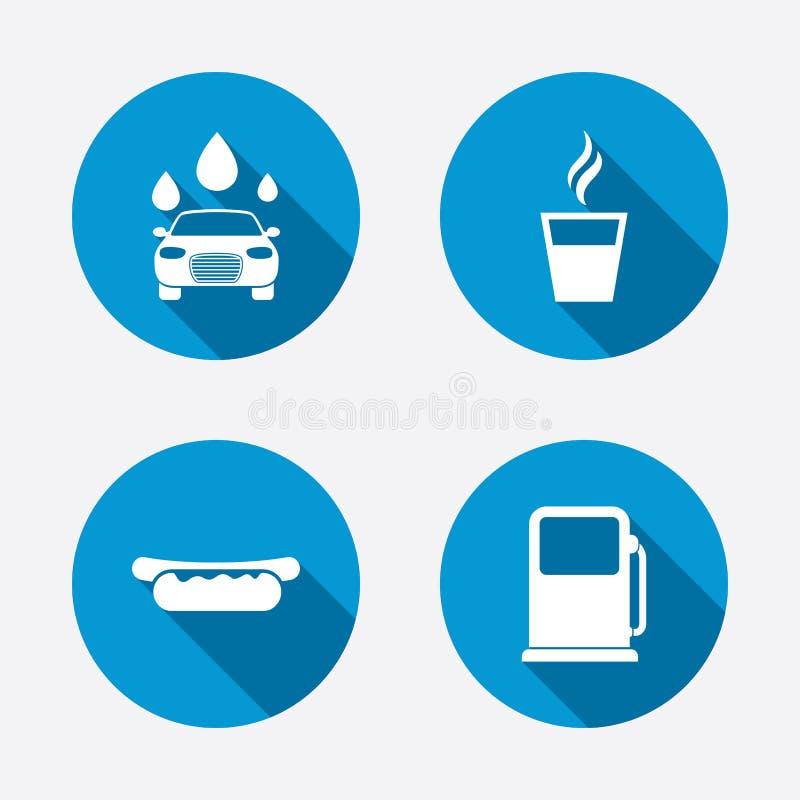 Значки обслуживаний нефти или бензоколонки мытье губки машины шланга автомобиля чистое иллюстрация штока