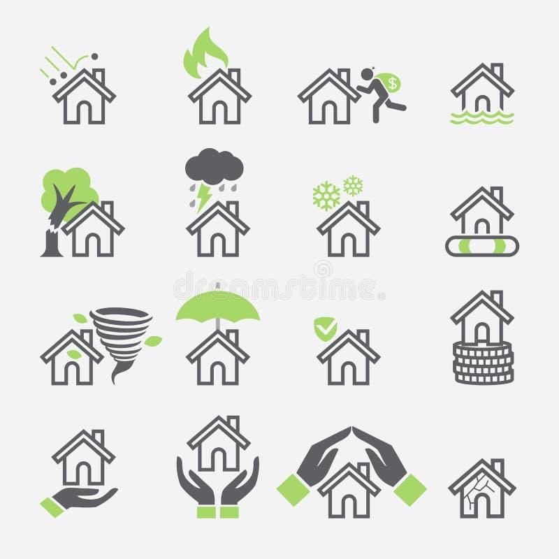 Значки обслуживаний страхования дома иллюстрация вектора