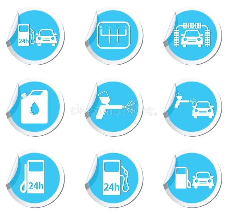 Значки обслуживания и бензоколонки автомобиля бесплатная иллюстрация