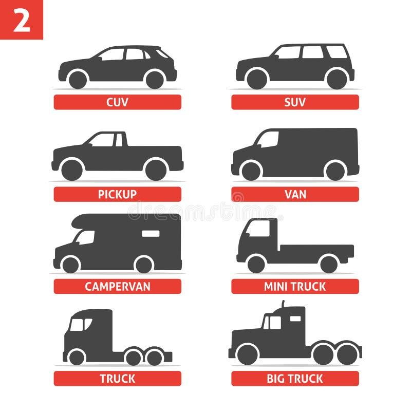 Значки объектов типа и модели автомобиля установили, автомобиль бесплатная иллюстрация