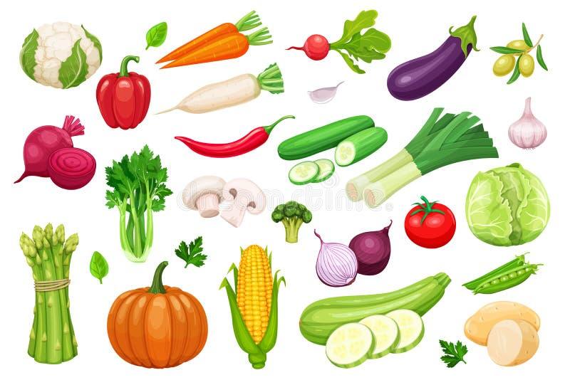 Значки овощей вектора установленные в стиль шаржа иллюстрация штока