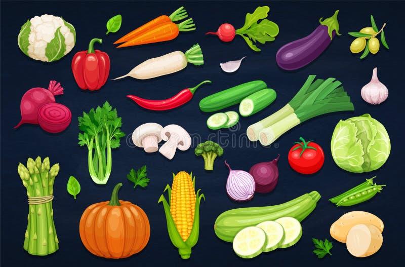 Значки овощей вектора установленные в стиль шаржа иллюстрация вектора