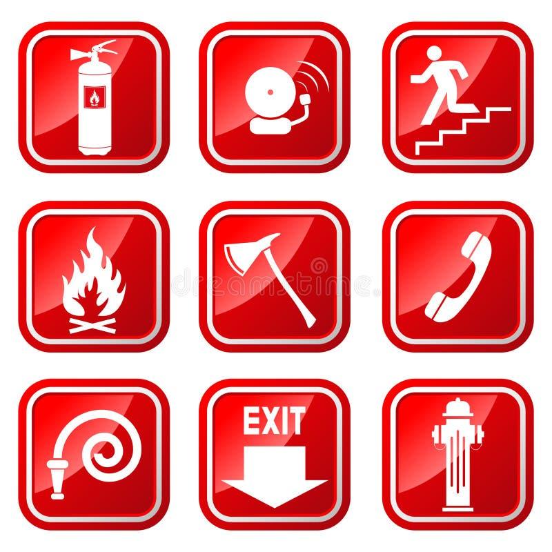 Значки огня иллюстрация вектора