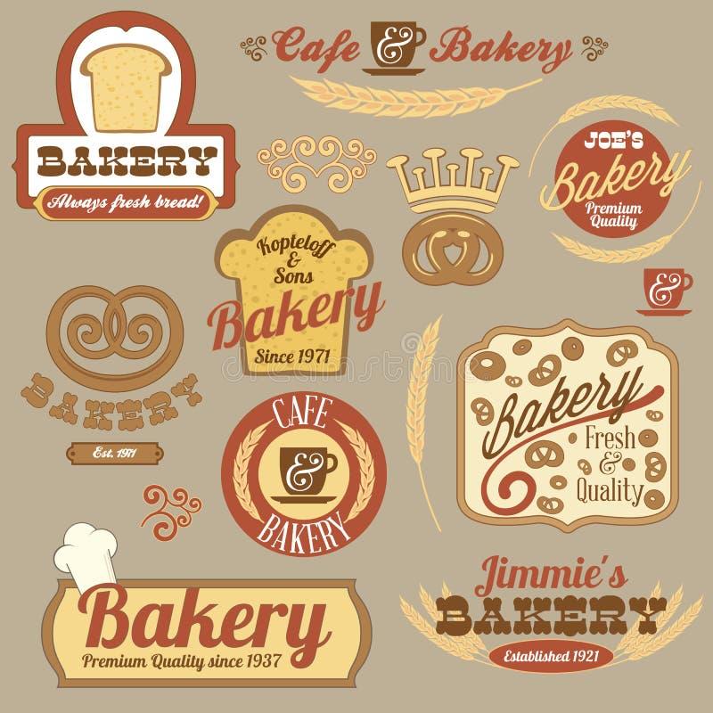 Значки логоса хлебопекарни год сбора винограда ретро иллюстрация штока