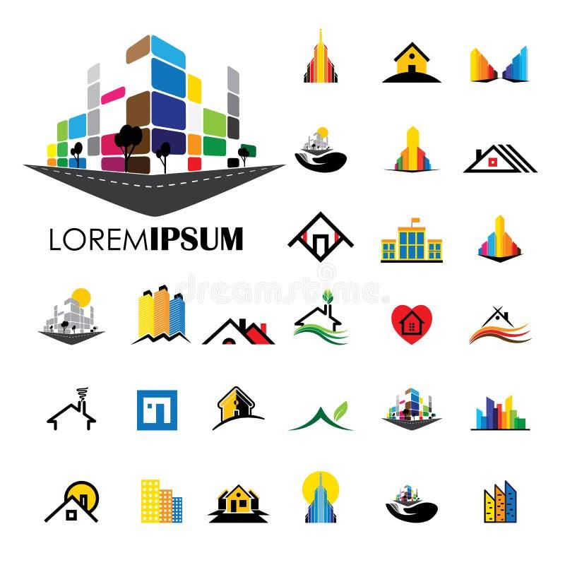 Значки логотипа вектора архитектуры дома и жилищного строительства бесплатная иллюстрация