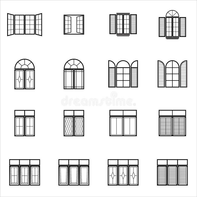 Значки окна установленные стоковое фото